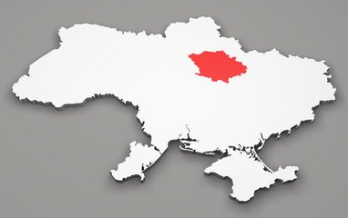 Mappa Ucraina, divisione regioni, poltava