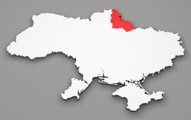 Mappa Ucraina, divisione regioni, sumy