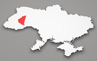Mappa Ucraina, divisione regioni, ternopil