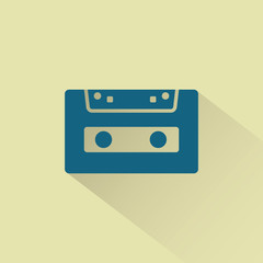 Retro audio cassette vector icon.