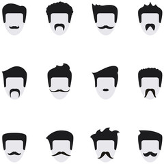 Set vector icons face with mustaches