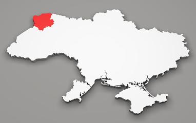 Mappa Ucraina, divisione regioni, volyn