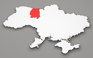 Mappa Ucraina, divisione regioni, zhytomyr