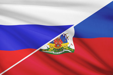 Series of ruffled flags. Russia and Republic of Haiti.