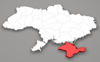 Mappa Ucraina, divisione regioni, Crimea