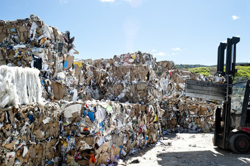 Pile of papers in a recycle center