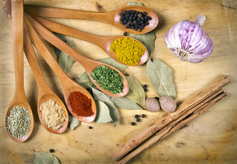 mix aromatic spices on spoons