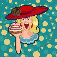 Retro lady with cake