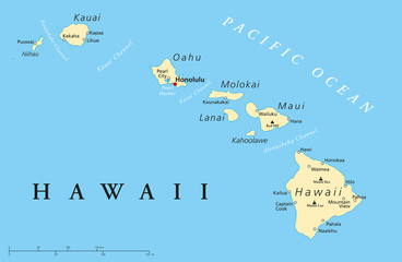 Hawaii Islands Political Map