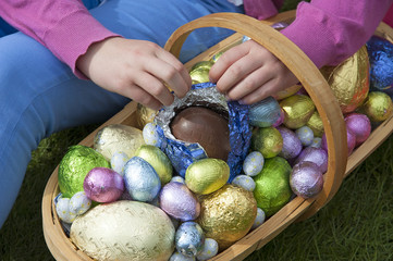 Easter eggs in a garden trug Opening chocolate egg