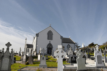 old Irish church and graveyard in Kincasslagh