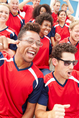 Spectators In Team Colors Watching Sports Event