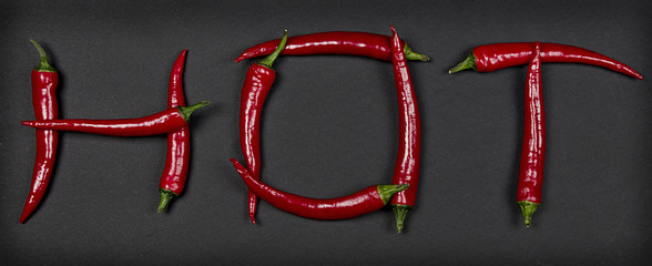 Hot written with chili peppers