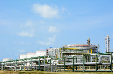 Petrochemical plant with blue sky