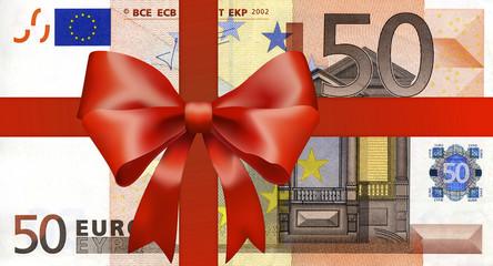 50 Euroschein mit breitem Geschenkband