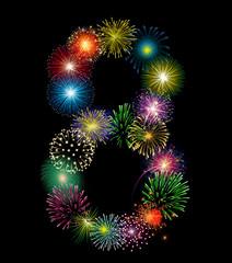 Zahl Feuerwerk - 8