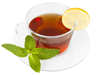 Black tea with lemon on white background