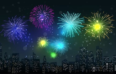 Fireworks on city night scene