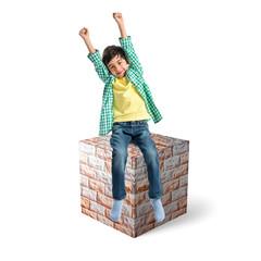 Lucky brunette kid sit on massive brick element