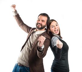Couple winner over white background