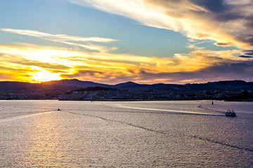 Beautiful daybreak at Vigo harbor