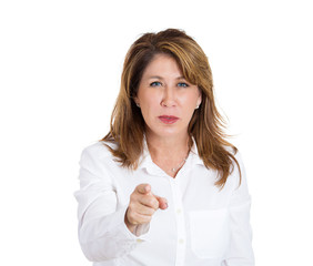 woman blaming someone pointing finger at camera gesture