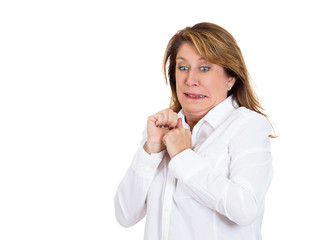 Portrait terrified funny looking woman on white background