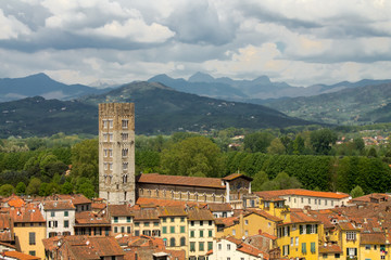 Landscape of city center of Lucca