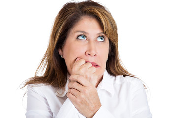 Anxiety, panic, fear. Stressed woman biting fingernails