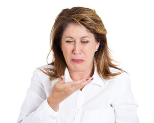 Headshot portrait middle aged woman about to vomit