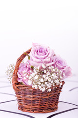 pink roses in brown basket of withe background