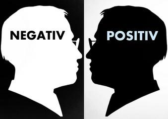 Gegensatz, Köpfe, positiv, negativ