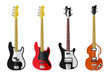Set of isolated vintage bass guitars. Flat design