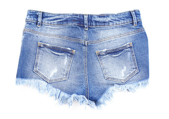 Women jeans shorts isolated on white