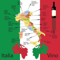 Concept and Editable italian wine map with flag as bacgroung