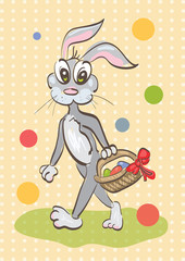 Illustration of easter rabbit caring a basket on vintage backgro