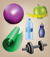 Nice collection of realistic fitness icons including water bottl