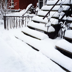 Staircases after snowstorm