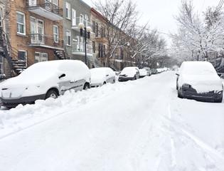Urban street after snowstorm
