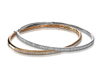 Set of diamond bracelets rose and white gold