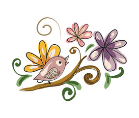 Illustration of cartoon vintage bird on branch with flowers