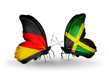 Two butterflies with flags  Germany and Jamaica