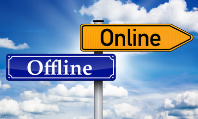 Wegweiser mit Offline und Online