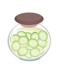 Delicious Pikled Slice Cucumber in A Jar