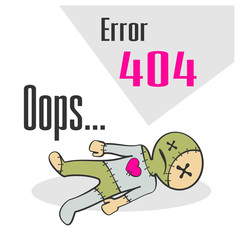 Error 404 concept with voodoo doll