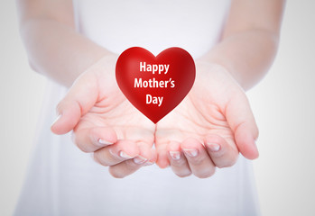 Happy mother's day  Red heart on  woman hands over body isolated