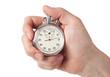 Leinwandbild Motiv Close up of hand holding stopwatch, isolated on white background