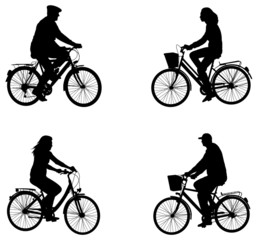 city bicyclists silhouettes - vector