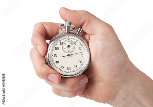 Leinwanddruck Bild Close up of hand holding stopwatch, isolated on white background