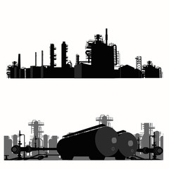 Vector illustration.Silhouette of an oil refinery
